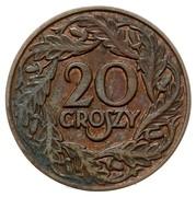 20 Groszy (Trial Strike Br; German Occupation WW II) – reverse
