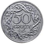50 Groszy (Al; Trial Strike 50 far from leaves 2nd eagle type German Occupation WW II) – reverse