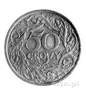 50 Groszy (Bronze; Trial Strike 50 closer to leaves German Occupation WW II) – reverse