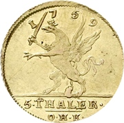 5 Thaler - Adolph Friedrich (Adolphs d'or) – reverse