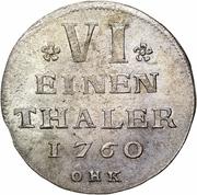 ⅙ Thaler - Adolf Frederick (Swedish occupation) – reverse