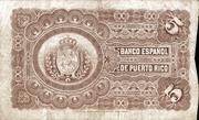 5 Pesos (Regent Queen Maria Cristina) – reverse