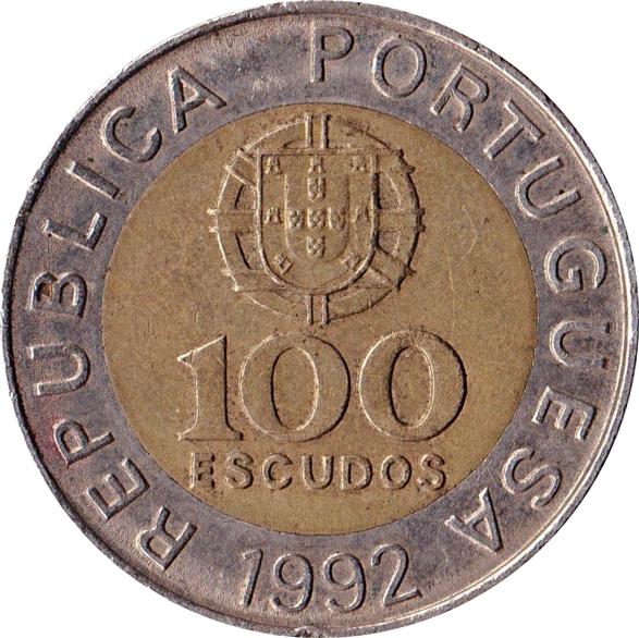 PORTUGAL,cut coin,1990,Restauracao da independencia,100 Escudos
