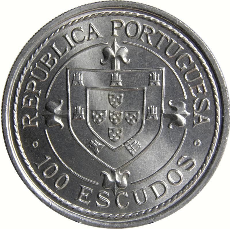 PORTUGAL COMMEMORATIVE COIN 100 ESCUDOS NUNO TRISTAO 1987 UNC