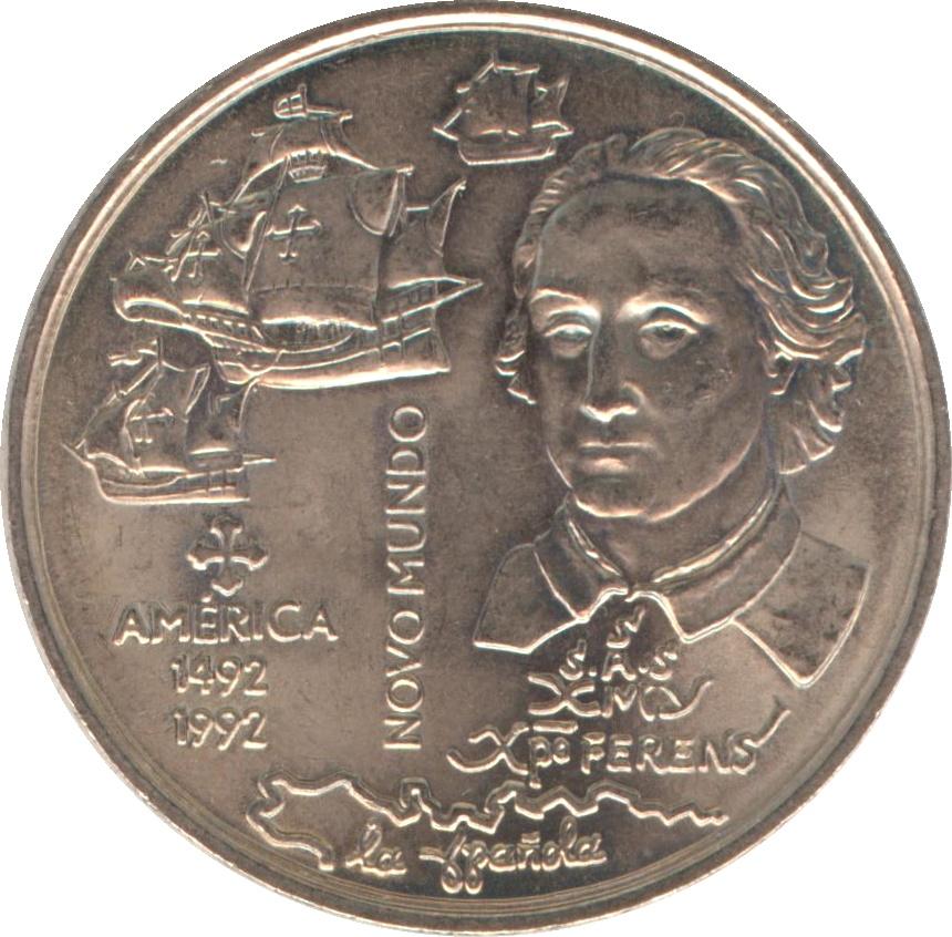 PORTUGAL COMMEMORATIVE COIN NEW WORLD AMERICA 1992 UNC 200 ESCUDOS
