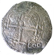 "600 Réis - Afonso VI (Countermark over ""8 Reales - Felipe IV"") – obverse"