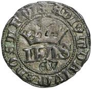 "½ Real of 10 Soldos - João I (""€V"" Évora mint) – obverse"