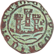 Ceitil - Afonso V (Group 3 - Castle with towers formed by square elements; turrets with four battlements) – obverse