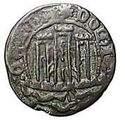 Ceitil - Afonso V (Group 5 - Columnar towers; Sea of continuous waves cutting the legend; Shield of 4th type or variants) – obverse
