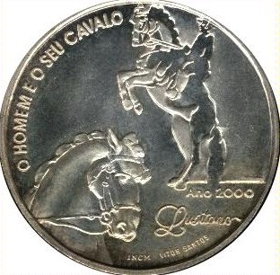 Ibero American series 1000 escudos silver 2000 Lusitano Horses  UNC