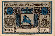 75 Pfennig (Schneidemühl; Sparkasse) – obverse
