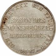 """1 Thaler - Friedrich Wilhelm IV (""""Mining Thaler"""") – reverse"""