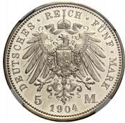 5 Mark - Wilhelm II. (Pattern) – reverse