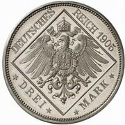 3 Mark - Wilhelm II. (Pattern) – reverse