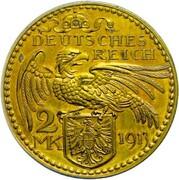 2 Mark - Wilhelm II (Pattern) – reverse