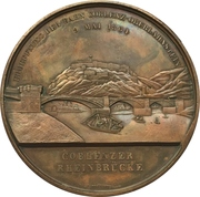 Medal - Opening of the train line Koblenz-Oberlahnstein (Prussia) – reverse