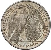 3 Mark - Wilhelm II (Pattern) – reverse