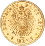 5 Mark - Wilhelm I – reverse