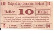 10 Heller (Pürbach) – obverse