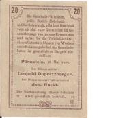20 Heller (Pürnstein) – reverse