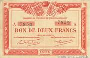 2 Francs (Chambres de Commerce de Quimper et Brest) – obverse