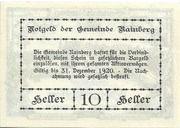 10 Heller (Rainberg) – reverse