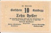 10 Heller (Randegg) – obverse