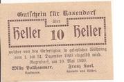 10 Heller (Raxendorf) – obverse