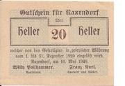 20 Heller (Raxendorf) – obverse