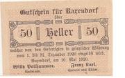 50 Heller (Raxendorf) – obverse
