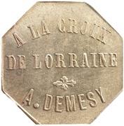15 Centimes - A la Croix de Lorraine A. Demesy (Remiremont) – obverse