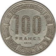 100 Francs CFA - Bokassa I – reverse