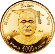 3000 Francs CFA (Martin Luther King) – reverse