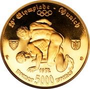 5000 Francs CFA (20th Olympiad - Munich) – reverse