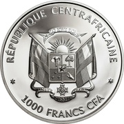 1000 Francs CFA (Wildlife Protection - Central African Red Colobus) – obverse