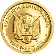 1000 Francs CFA (Central African Red Colobus) – obverse