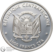 1000 Francs (Butterflies of the world) – obverse