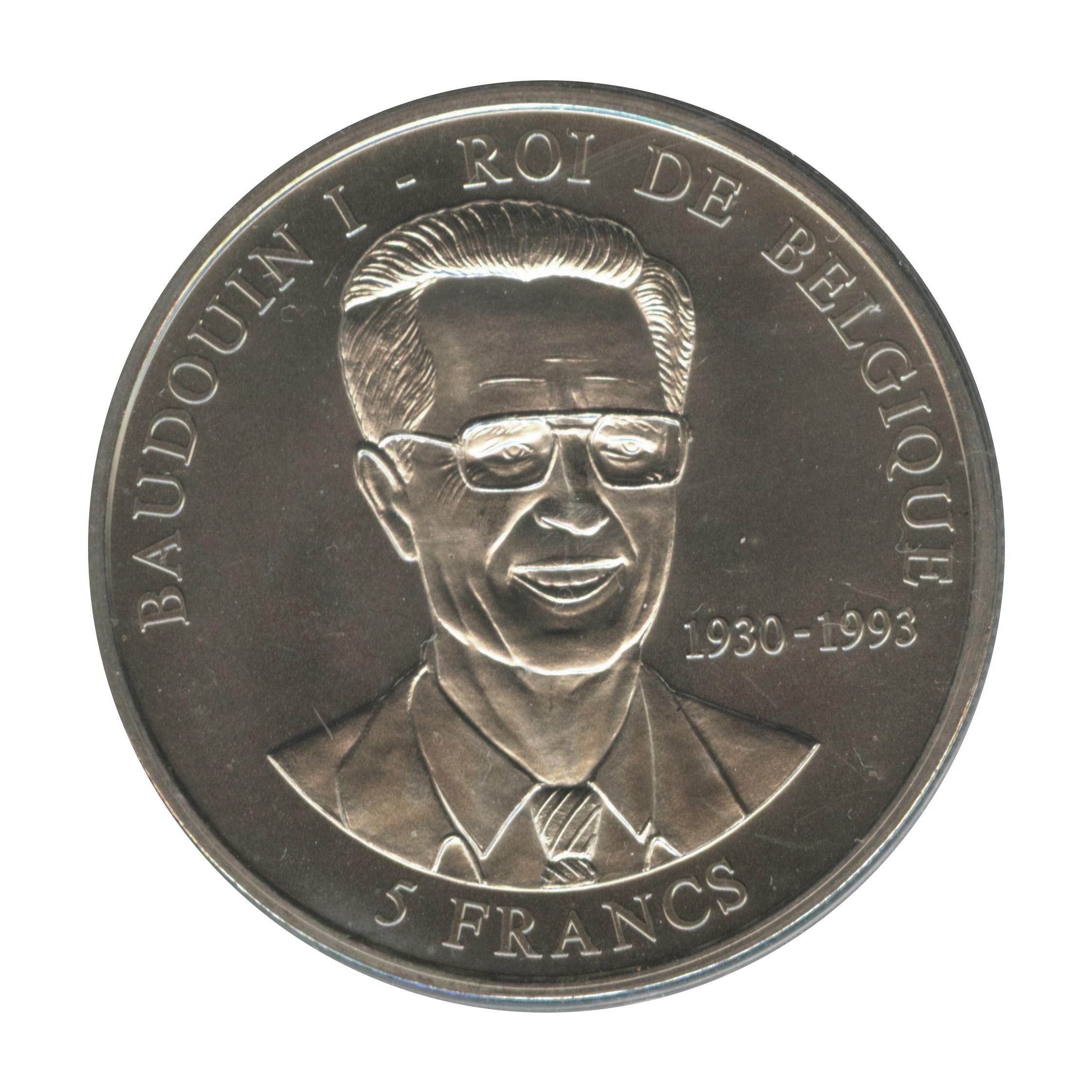 5 francs baudouin i roi de belgique congo r publique d mocratique numista. Black Bedroom Furniture Sets. Home Design Ideas