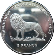 5 Francs (Lady Diana - Meeting with Pope John Paul II) – obverse