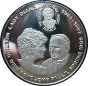 5 Francs (Lady Diana - Meeting with Pope John Paul II) – reverse
