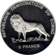 5 Francs (Lady Diana - Visit to India) – obverse