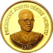 25 Makutas (5 Years of J.D. Mobutu's Presidency; Gold Proof Issue) – reverse