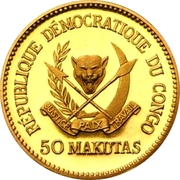 50 Makutas (5 Years of J.D. Mobutu's Presidency; Gold Proof Issue) – obverse