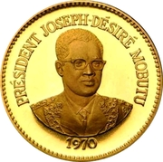 50 Makutas (5 Years of J.D. Mobutu's Presidency; Gold Proof Issue) – reverse