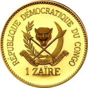 1 Zaïre (5 Years of J.D. Mobutu's Presidency; Gold Proof Issue) – obverse