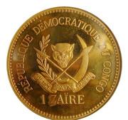 1 Zaïre (5 Years of J.D. Mobutu's Presidency; Brass Gilt Proof Issue) – reverse