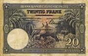 20  Francs (violet; DEUXIEME EMISSION) – reverse