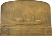 Plaquette - Maiden Voyage of the steamship Albertville – reverse