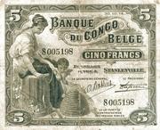 5 Francs (Stanleyville) – obverse