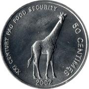 50 Centimes (Giraf, FAO) – reverse